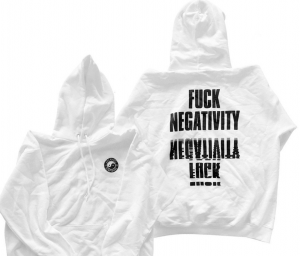 "Pictured here is Cory Arcangel's art piece ""Fuck Negativity White Hoody"""